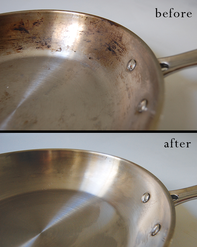 How to clean burnt stainless steel pots and pans naturally
