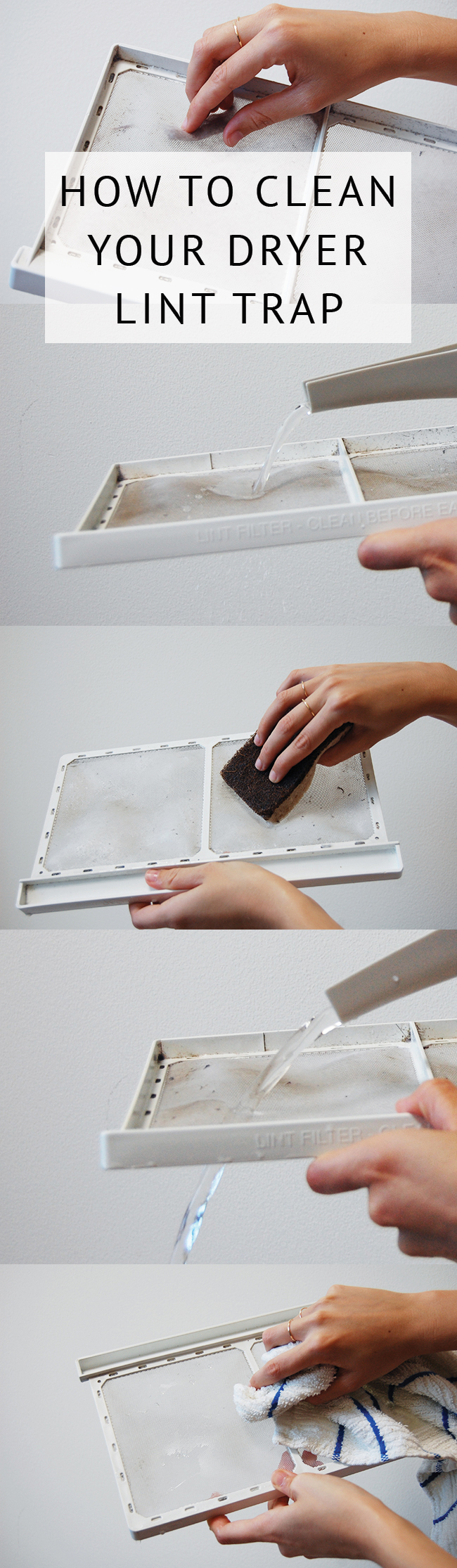 Easy dryer lint trap cleaning how-to - clean regularly to avoid a fire hazard!