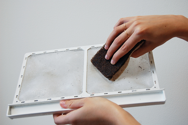 Dryer lint trap cleaning to prevent fire hazard