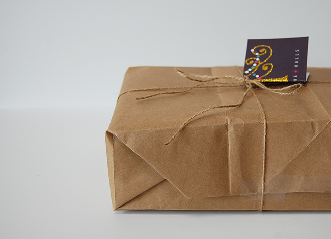 Recycled gift wrap ideas - paper bag and recycled holiday card