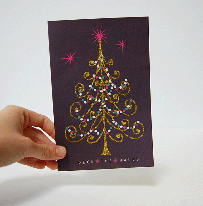 Recycled gift wrap ideas - holiday card transformed into a gift tag