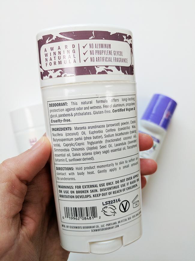 Aluminum free natural deodorant test - Schmidt's ingredients