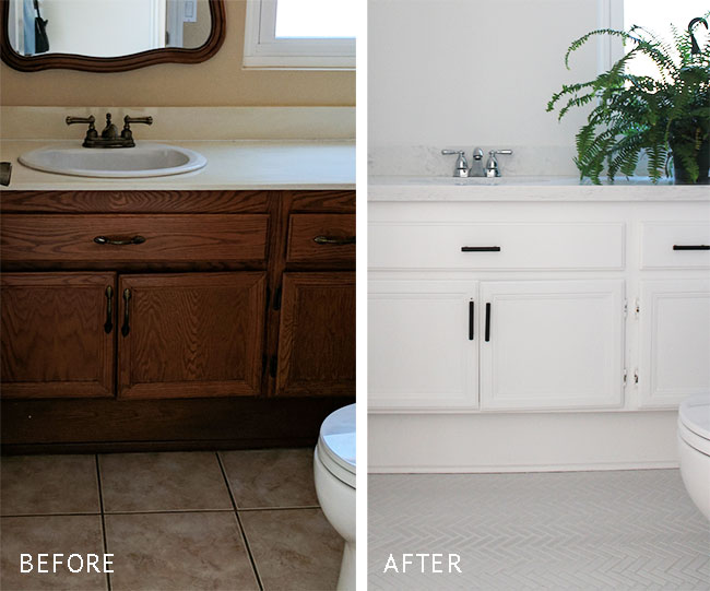 Small bathroom makeover - flooring and hardware