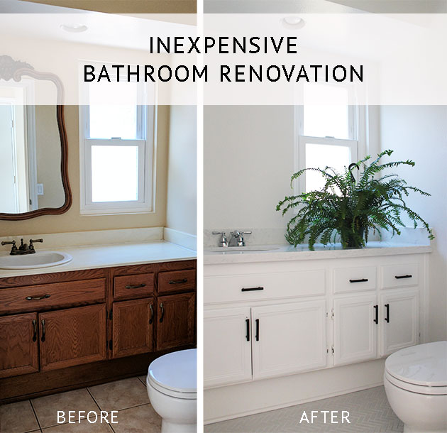 Check out the sources behind our affordable small bathroom makeover - we updated the paint colors, countertop, faucet, tile, and hardware to make the space feel much larger and MUCH cleaner.