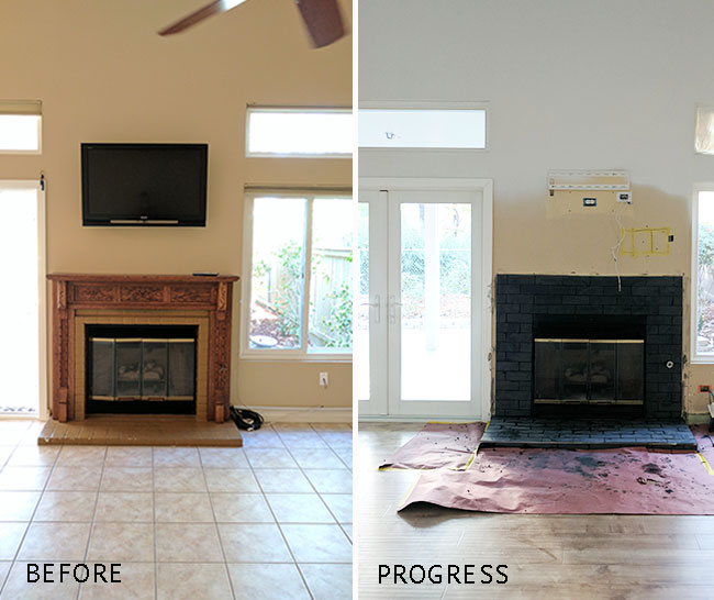 Living Room Makeover - fireplace before and after