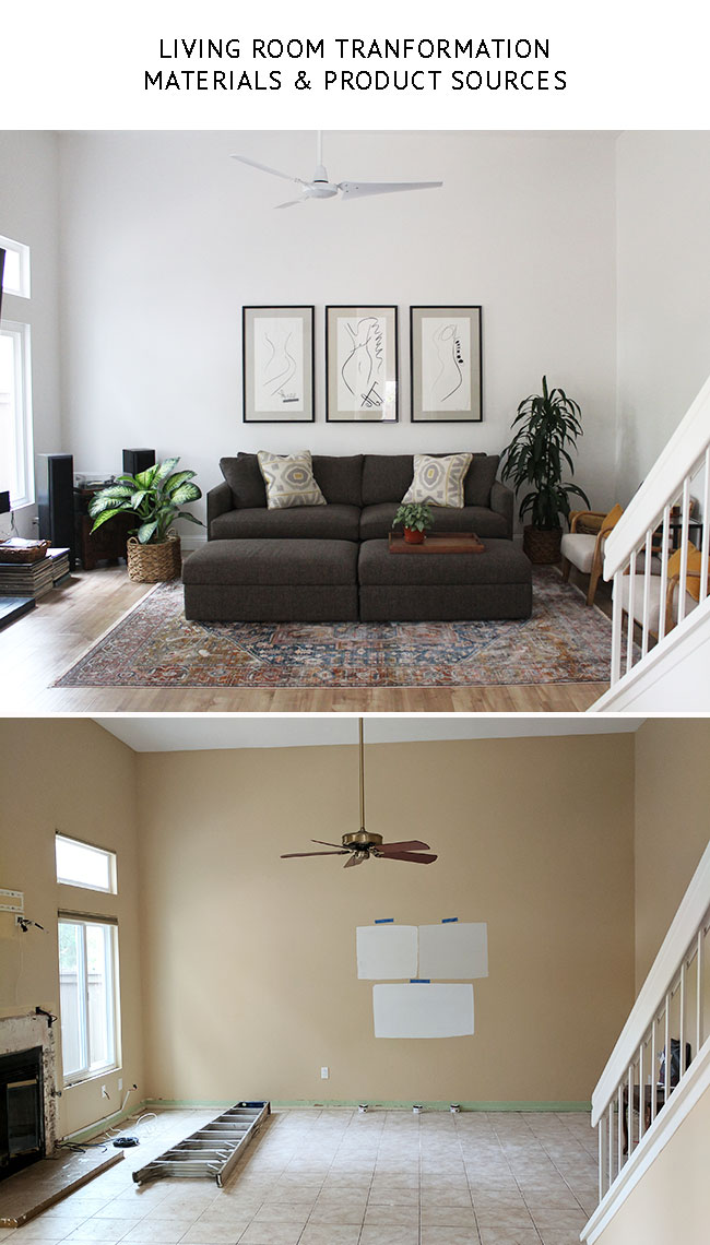 Living Room Makeover - materials and product sources