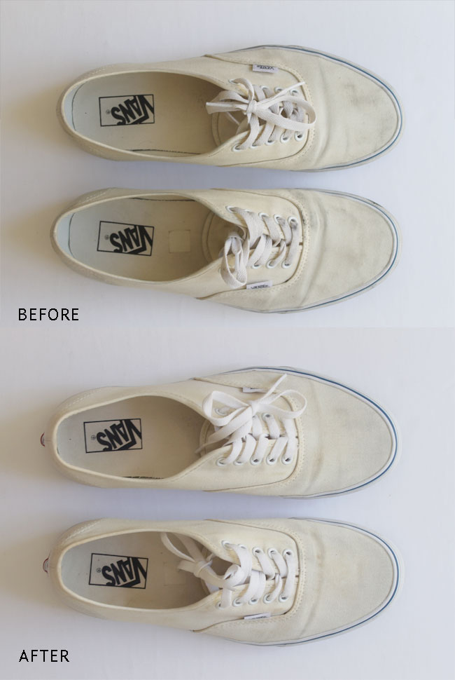 How to clean white canvas shoes