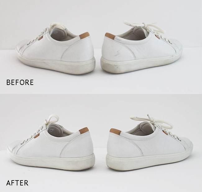 Clean White Leather Shoes Scuff Marks