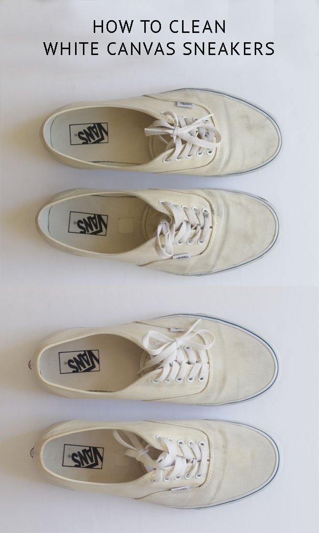 How to clean white canvas shoes using liquid detergent, hydrogen peroxide, and baking soda.